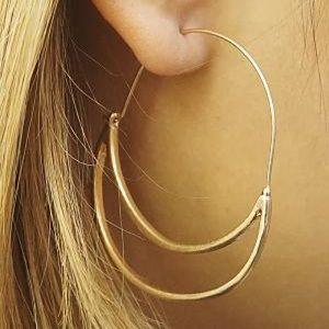 Matte Gold Double Crescent Earrings
